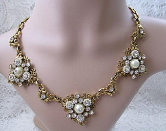 Necklace with rhinestones and faux pearls goldtone wedding or prom statement piece