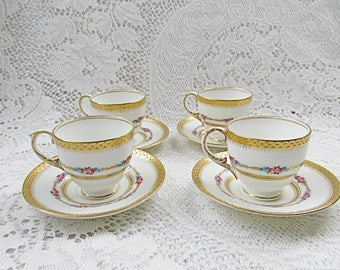 George Jones and Sons demitasse espresso coffee cups and saucers Crescent bone china  roses cottage chic