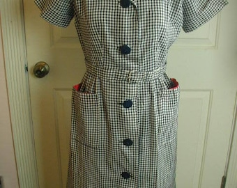 Vintage, Hand Made, Cotton Dress, Navy Blue Gingham, Cotton Fabric, 1950's, Mid Century, Tailored with Slightly Flared Skirt