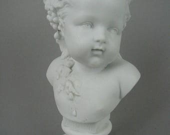 """Beautiful Vintage Parian Ware Bust, """"Automne"""" or """"Autumn"""", White Bisque Porcelain, Vion and Baury, Blue Pad Mark, 9 3/4"""" tall"""