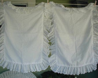 Vintage White Eyelet Pillow Shams, Standard Bed Size, Pair of Pillow Shams, With Ruffles, Shabby Cottage, Cottage Chic
