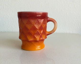 Anchor Hocking Fire King Kimberly pattern vintage kitsch coffee mug