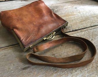 French Art Deco Leather Handbag Purse, Saddle Bag, Satchel