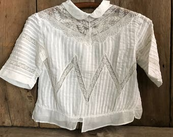 French Cotton Lace Blouse, Sweetheart Collar, Chemise, Lace Panels