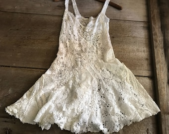 White Ecru Lace Tunic Dress, Sleeveless, Patchwork Lace, Sexy Long Top, Size Small