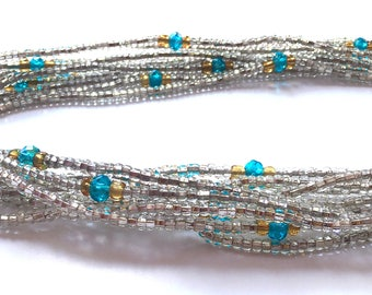 Silver with Jewels Handmade African Waist Bead *per one strand* (Various Colours)