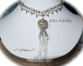 Born to Bling - unique necklace made with an Egyptian Crystal Ball + Swarovski Crystals and Silver beads.