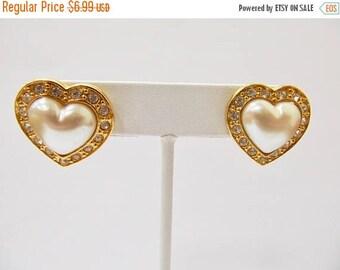 On Sale AVON Faux Pearl and Rhinestone Heart Earrings Item K # 2991