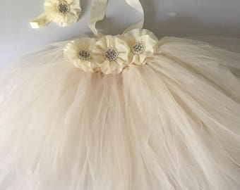 Rustic ivory flower girl dress flower girl tutu dress wedding flower girl dress come with headband all kids sizes