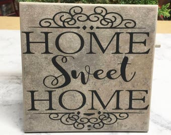 Home Sweet Home | Decorative Wall Tile | Personalized Gift | Wedding Gift | Housewarming Gift | Anniversary Gift | Ceramic Tiles | New Home