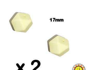 x 2 beads 17mm cream standards hegagone silicone food teething