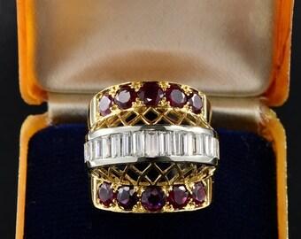 Striking retro ruby and diamond rare ring