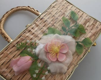1950s Vintage STRAW PURSE Pink Plastic Flowers Basket Weave Purse Straw Handbag By SIMON Hand Made in Hong Kong