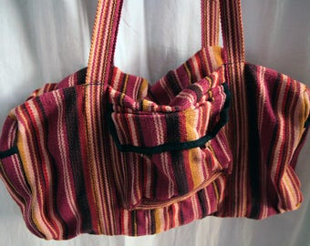 Vintage duffel bag, striped canvas, colors brown, dark red, mustard,