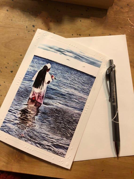 Blessings. Water. Dreadlock Greeting Card. Handmade Cards. Afro Art. Locs Art. Friendship Cards. Natural Hair Art
