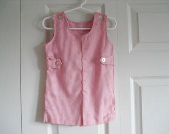 Vintage toddler romper - 3T - pink and white stripe - Buster Brown