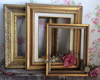 GOLD Shabby Chic Picture Frames -  set of 3 - ORNATE -  shabby chic frames - What you see is what you get, WEDDING, French Country