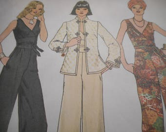 Vintage 1970's Simplicity 7230 Jacket and Jumpsuit Sewing Pattern Size 14 Bust 36