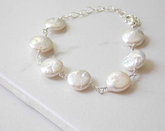 White Coin Pearl Bracelet in Sterling Silver. Freshwater, Pearl, White Jewelry