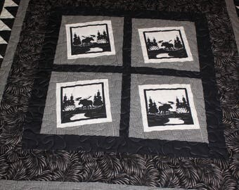 Moose Shadows, quilt in black and white
