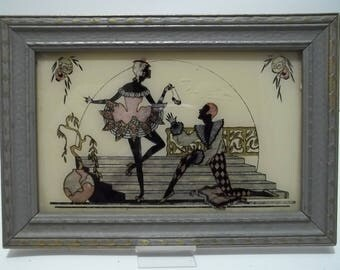 Vintage 1920's Silhouette Dancer Harlequins Chinese Lanterns