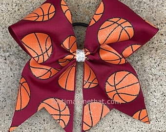3x7x7 Basketball Cheer Bow with Glittered Basketballs on Maroon Grosgrain