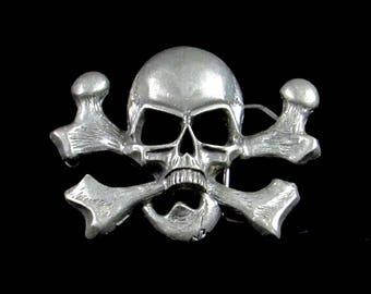 Skeleton Skull Belt Buckle - Silver Metal Clothing Accessory