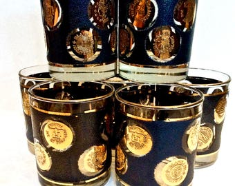 Libbey Black and Gold Coin Glasses, Set of 7 Old-Fashioned Mid Century Barware