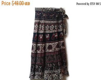 SALE Indian Elephant Wrap Skirt Peacock and Horses Size S M Vintage