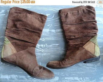 SALE Suede Slouch Boots - Brown Leather with Patches - Vintage 80s - Size 37 6.5 7