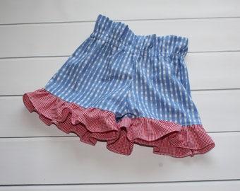 Girls Shorts - Ruffle Gingham Shorts - Girls Bloomers - Blue and White Ruffle Shorts - Red Gingham Shorts - Back to School - Girls Fashion