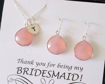11 Initial Bridesmaid Necklace and Earring set Pink, Bridesmaid Gift, Blush Pink Gemstone, Sterling Silver, Initial Jewelry, Personalized