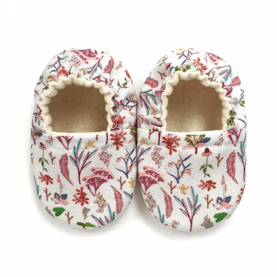 Grey Wildflowers Soft Sole Vegan Baby Shoes