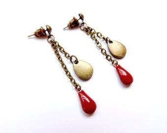 Earrings - drops (red)