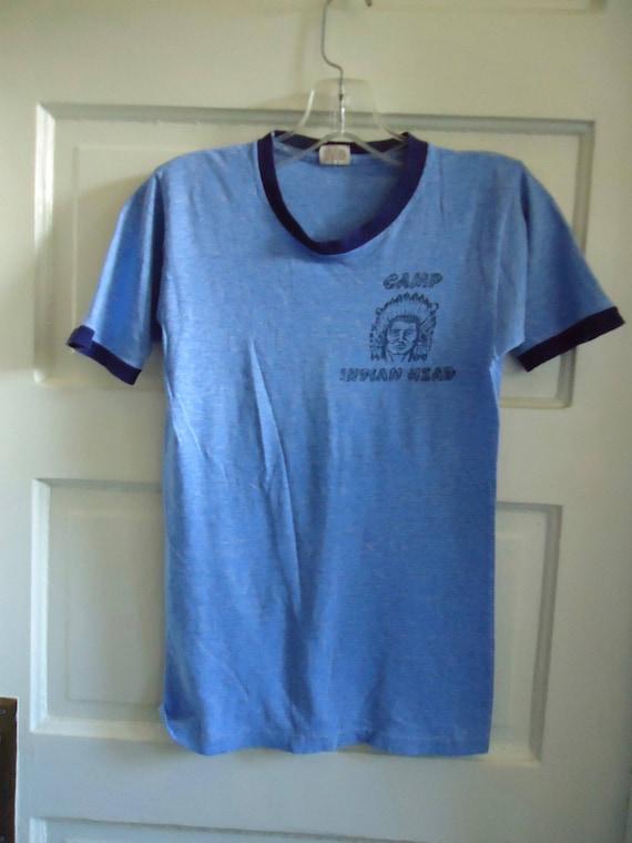Vintage 70s SPRUCE Summer Camp Ringer T Shirt sz XS DkQYP63nT
