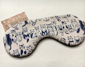 Sleep mask / happy cats travel sleep mask / lucky cat/ eye mask / night mask cute happy cat fabric