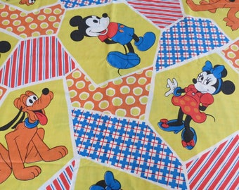 60s/70s Vintage Childrens Sheet Set- Disney Mickey Mouse Crazy Quilt - Full or Double Size Sheet & 2 Pillowcases