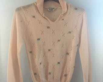 Vintage Womens Peach Knit Blouse with Knit Flowers and Button Neck