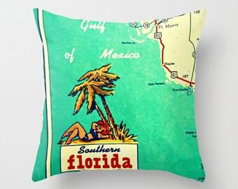 Southern Florida Pillow Cover, Southern Florida Gift for Hostess Naples Pillow, Sanibel, Naples home Aqua Yellow Pillow, 18x18