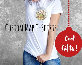 Outdoors Gift, Stocking Stuffer for Women -Sister Gift- Custom Map T-shirt- Travel Gift Her- City Map Gifts for Girlfriend, Outdoors Tee
