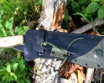 Hand Forged SW Gallagher Survival series Back Country HammerBack Chopper with Custom Survival series Kydex Sheath - SHIPS FREE