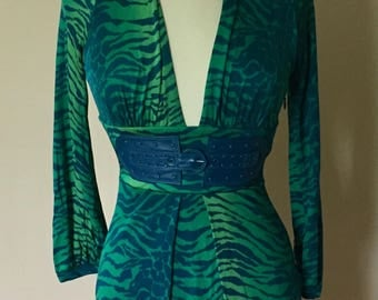 Vintage Marciano Silk Leather Tiger Stripe Top