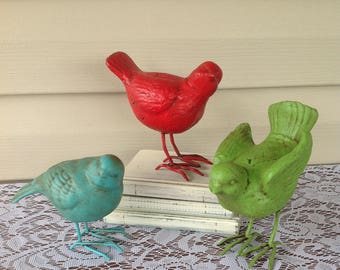 Wire Feet Nellie Birds, Set of 3 Bird Statues, Red Green Turquoise Birds, Table Top