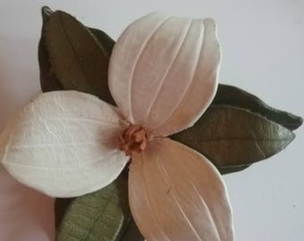 Leather  Trillium Flower Pin