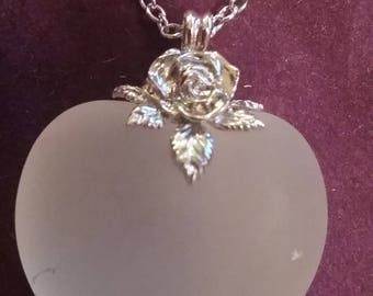 Frosted Glass Heart Pendant Necklace