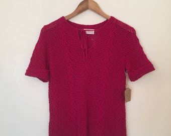 Vintage Raspberry Sweater / Med/Large / Pointelle Sweater