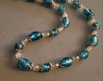 Pretty blue and white glass bead necklace