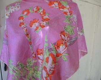 Vintage 1950s scarf silk pink floral flowers 32 x 33 inches