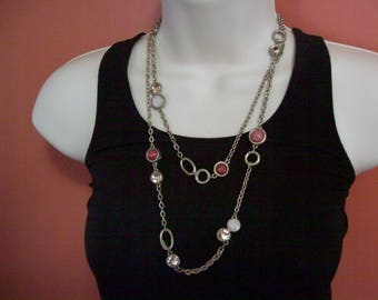 SALE Chicos Beaded chain necklace, vintage bead and chain necklace, hippie