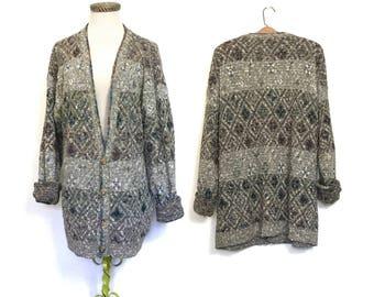 Vintage 80's Sweater BOYFRIEND Sweater Slouchy Sweater Cardigan Extra Large Geometric 90's Oversized Grandpa Sweater Plus Size XL i